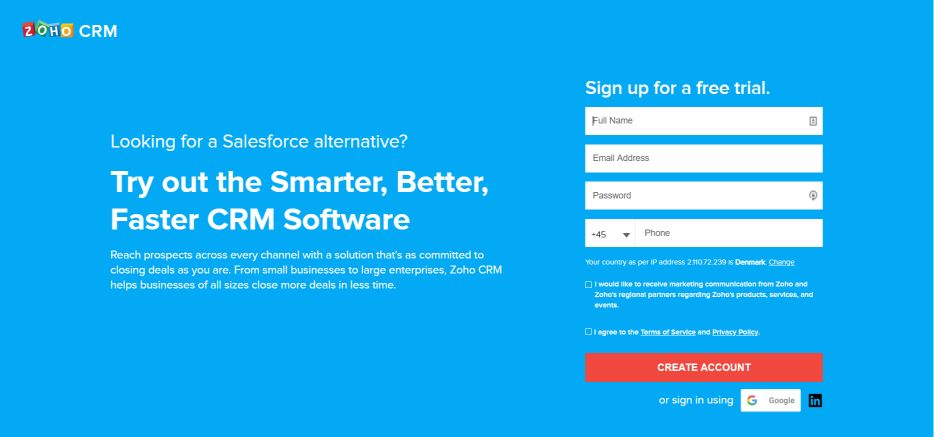 Zoho CRM Landing Page