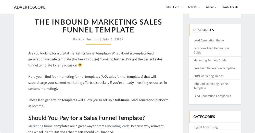 The Inbound Marketing Sales Funnel Template