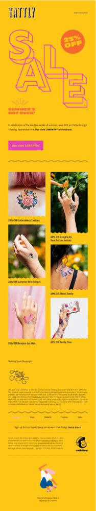 Sale email - Tattly